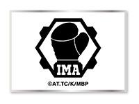 《メガロボクス》を主催するIMA(International Megalobox Association)のロゴをシンプルにデザインしたベルクロワッペン